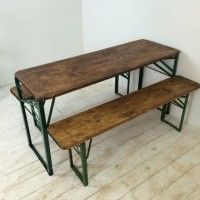 Customised length vintage German beer table and benches - Lovely and Co