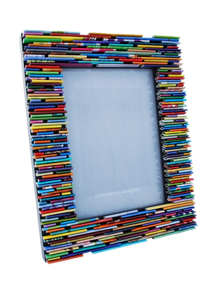 Colorful picture frame made from recycled magazines.