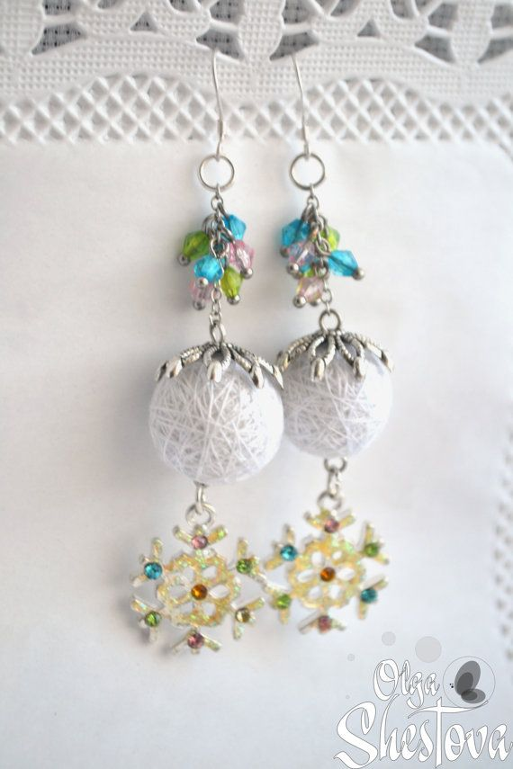Earrings from Cotton Balls Snow white Handmade от OlgaShestova