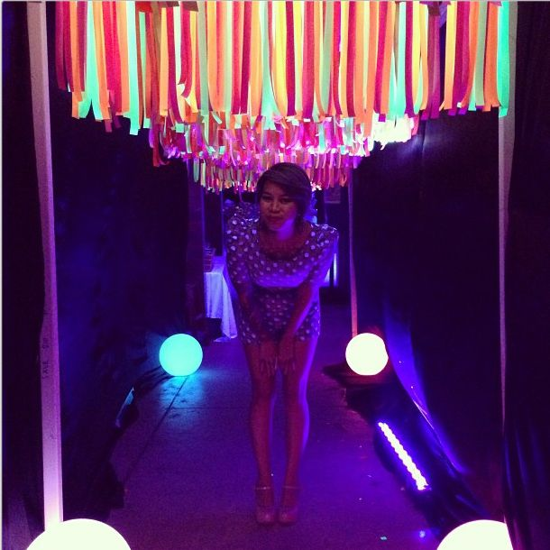 Photo Drop or Entry Way for Teen Neon Black Light Dance party http://thevaultfrisco.com