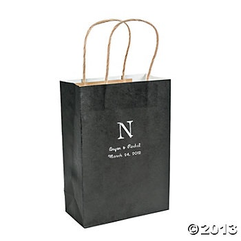 Personalized Monogram Black Craft Bags for reception favors. Take home gift bags.