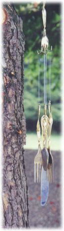 wind chime: Diy Ideas, Outdoor Ideas, Blow Crafts I Want To Make, Silverware Windchimes, Bells Wind Chimes, Utensil Windchimes, Blow Wind