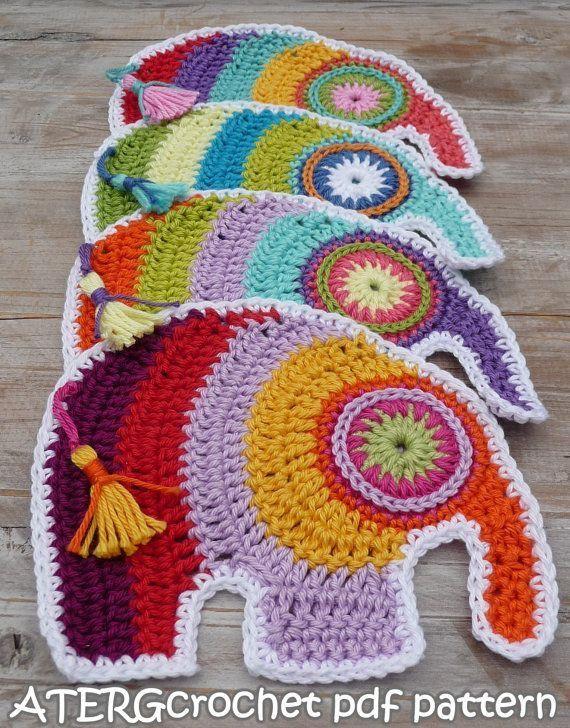 Aplicaciones crochet en forma de elefante