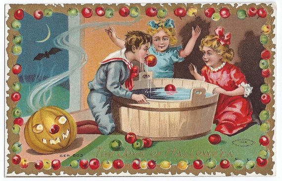 "Antique Halloween Postcard Vintage Embossed Halloween Postcard ""The Joys of Hallowe'en"" Jack O Lantern Pumpkin Moon Bat Flying Apple Bobbing by santashauntedboot, $40.00"