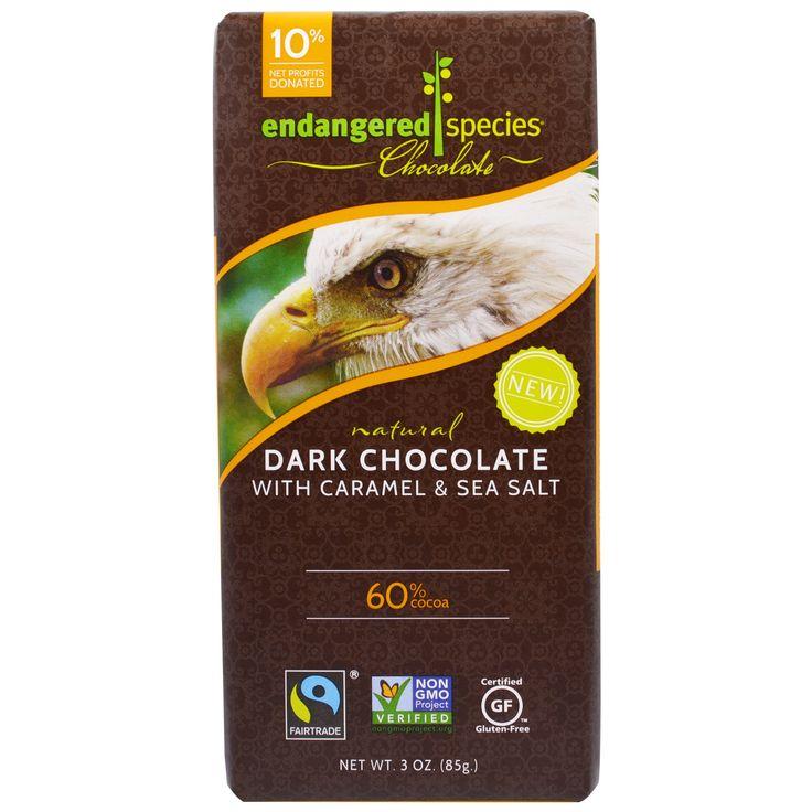 Endangered Species Chocolate, Dark Chocolate With Caramel & Sea Salt, Natural, 3 oz (85 g)
