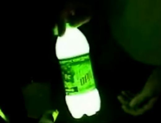 Leave 1/4 of Mountain dew in bottle (just dont drink it all), add a tiny bit of baking soda and 3 caps of peroxide. Put the lid on and shake - Voila! Homemade glow stick