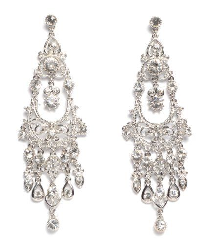 NYK Beautiful Antique Silver Crystal chandelier earrings, http://www.amazon. - 50 Best Bling Images On Pinterest Chandelier Earrings, Wedding
