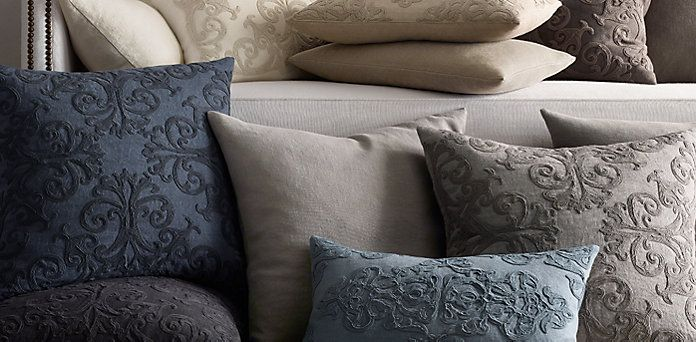 Scroll Soutache & Washed Belgian Linen Pillow Collection Restoration Hardware Take me Away ...