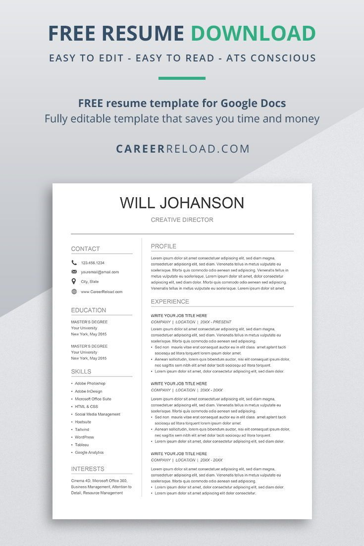 Free Resume Template For Google Docs Resume Template Modern Resume Template Downloadable Resume Template