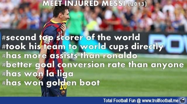 Injured #Messi stats #football #soccer #Trollfootball #LionelMessi #Messi10 #LM10 #MessiInjured #Barca #Arg
