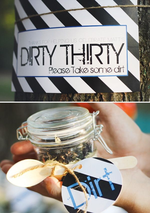 """When i turn 30 i want my friends to do this----Modern """"Dirty Thirty"""" Camping Party Favors"""