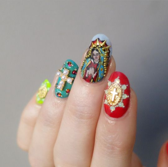 Our Lady of Guadalupe. Assorted nail decorations from Daily Charme.