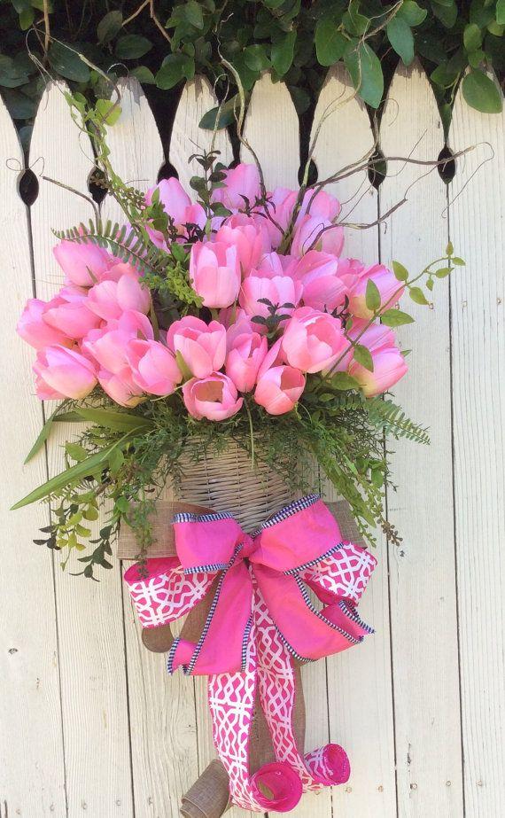 Tulip puerta cesta canasta tulip guirnalda de primavera por Keleas