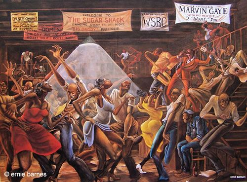 """""""Sugar shack"""" by Ernie barnes is one of my favorite paintings for as long as i could remember. My grandparents had this painting in their house it brings so many pleasant memories i plan to buy this for my first apartment !"""