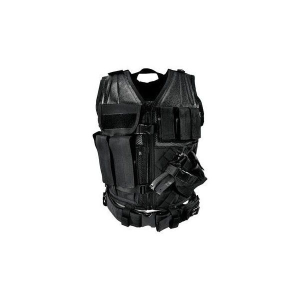 NcSTAR Tactical Vest with Magazine Pouches, Holster and Pistol Belt... ❤ liked on Polyvore featuring outerwear, vests, vest waistcoat and swat vest