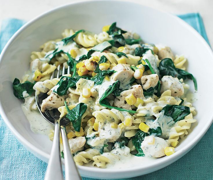 Spinach and chicken in creamy sauce with pasta