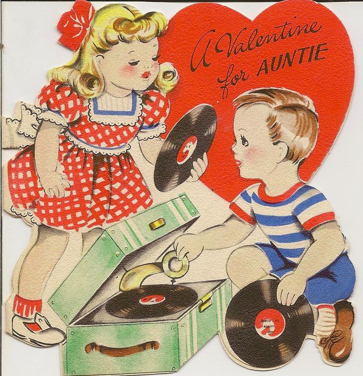 1930s Valentine For Auntie With Record Player MusicVintage ValentinesValentine