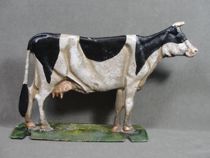 Antique Early 20thc Painted Cast Iron Cow Doorstop W