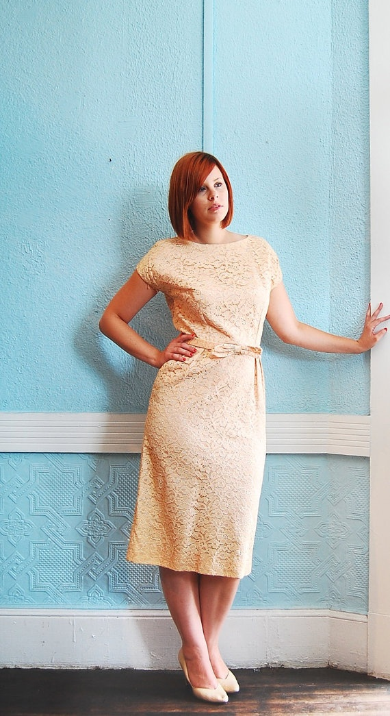 Love this vintage peach lace 60s wiggle dress-wouldn't it be a wonderful dress for a vintage wedding themed reception?
