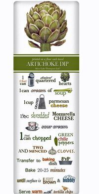 We treasure the recipe dish towel! Discover flour sack towels for every cook's decor and holidays. This one features an amazing recipe for perfect Artichoke Dip.
