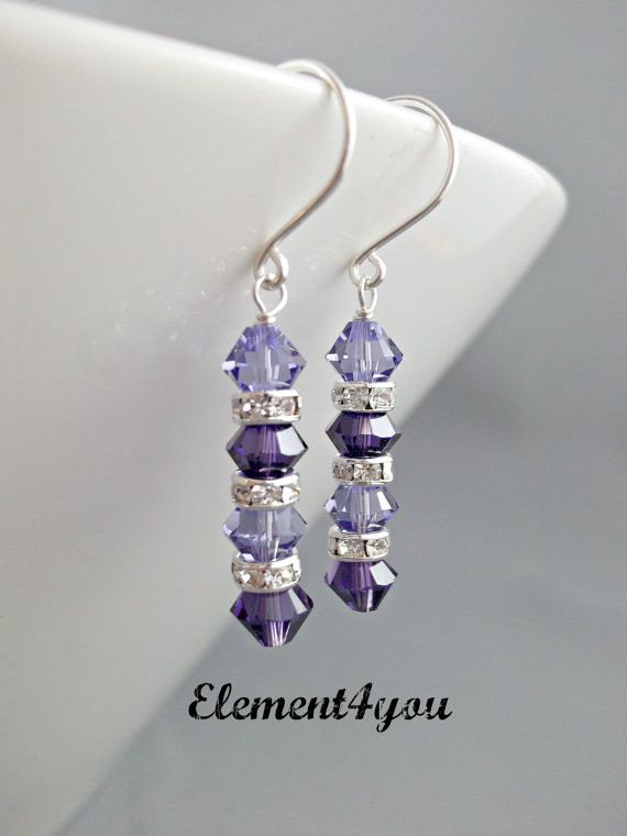 Swarovski crystal earrings Purple jewelry Wedding by Element4you, $16.00