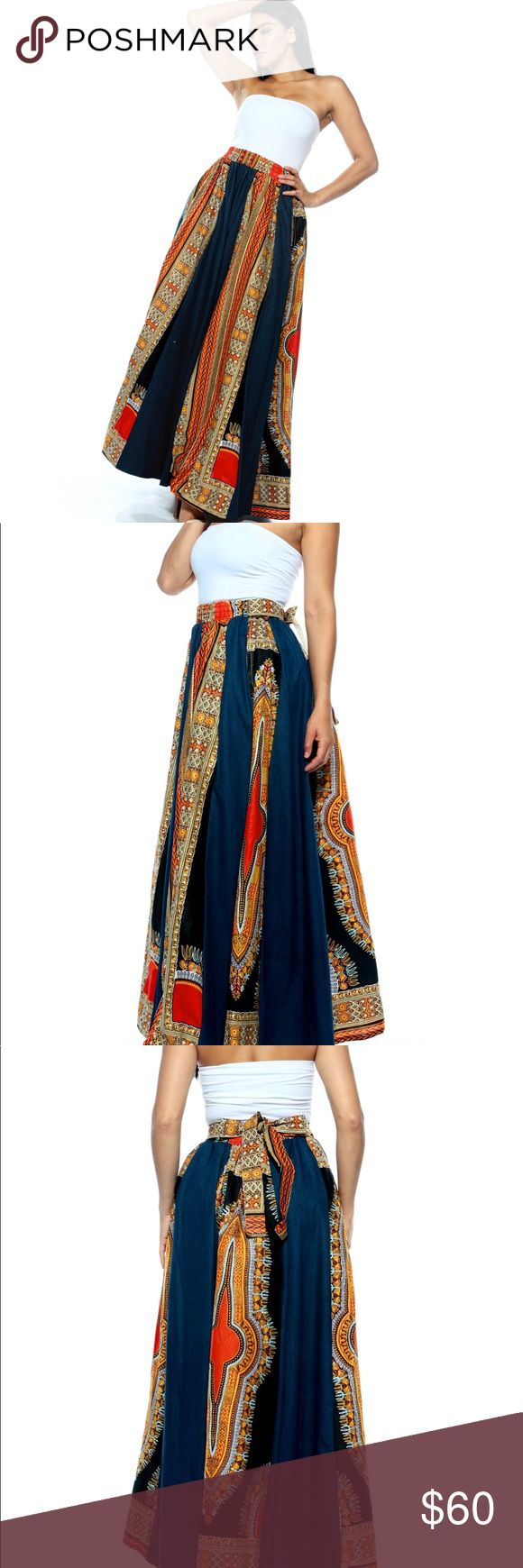 New❤️ African Print Dashiki Skirt This beautiful ankle length Dashiki skirt is a must have for any woman who wants to dazzle. Intricately designed, its a perfect attire for church, casual , or even meetups and dates. Order yours and look beautiful as you have always been.   Colors: Beautiful bold colors of blue jean, orange,red, and black   One Size fits most FT Inc Skirts Maxi