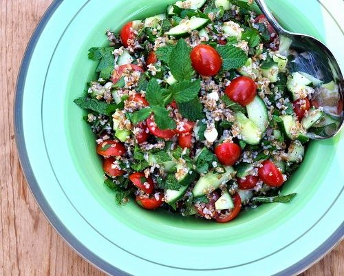 Ina Garten's Tabbouleh Salad, easy salad with bulgur wheat, cucumber, tomato, green onion, fresh ...