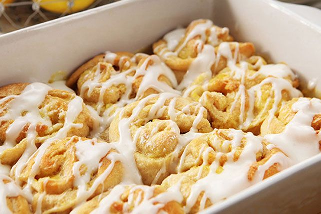 Skip the bakery run. Our Lemon Sticky Buns with Cream Cheese Glaze are a cinch to make, thanks to refrigerated crescent dinner rolls—and they'll be warm from the oven!
