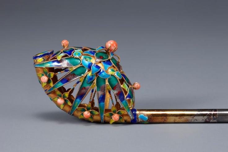 Cloisonné hair pin with bamboo and plum flower design, Joseon (1392-1910),  National Museum of Korea
