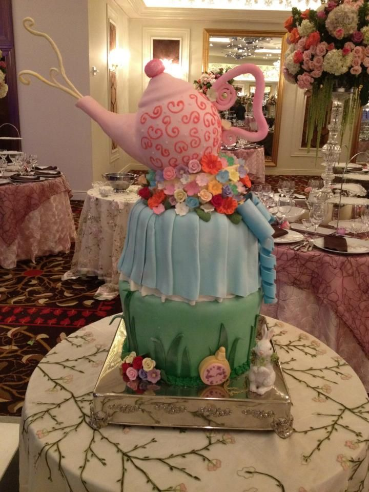 Alice in Wonderland Bat Mitzvah - Tea Pot Cake, Morrell Caterers