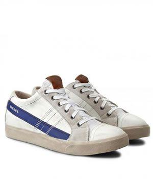 Pantofi Sport Diesel Piele alb cu albastru barbati
