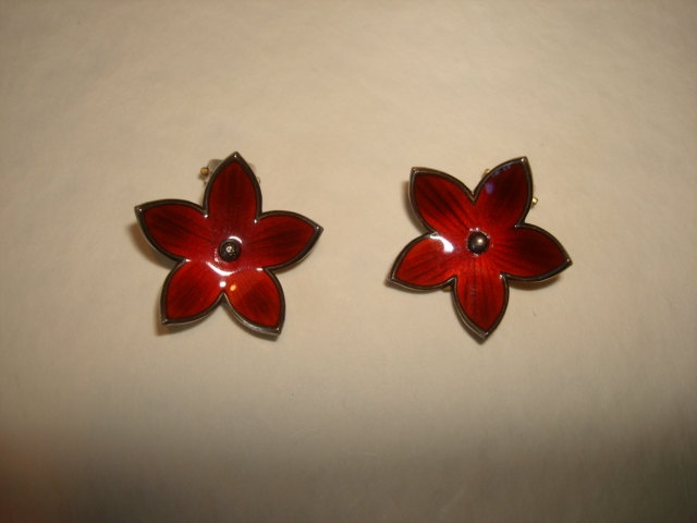 Ivar Holt Norway RED FLOWER Sterling Enamel by PastPossessionsOnly