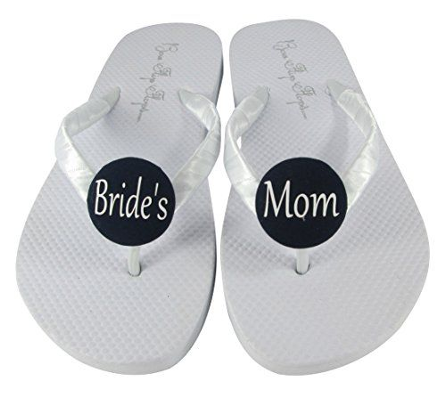 Brides Mom White Flip Flop Sandals for the Wedding Mother of the Bride Shoes *** Check out this great product.