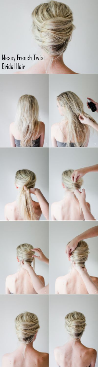 Messy French Twist Bridal Hair http://weddingideasbyyou.com/2014/03/03/messy-french-twist-bridal-hair/ Follow Us on Pinterest --> http://www.pinterest.com/weddingideasbyu/