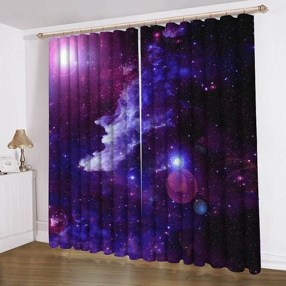 Anoleu Purple Galaxy Curtain Purple Galaxy Window Curtains 2 Panels
