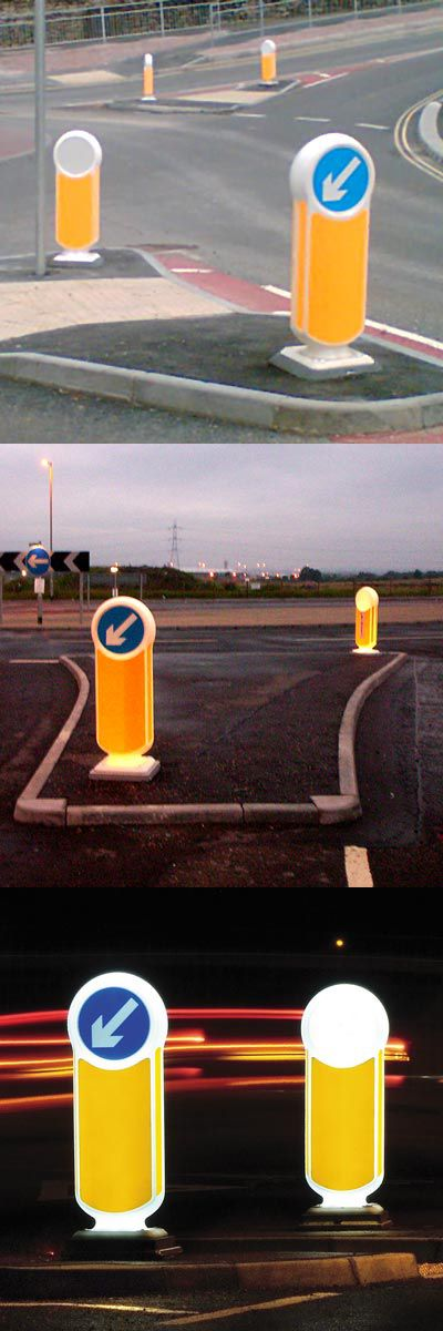 Rebound Signmaster LED™ Bollard - This sign carrying rebound bollard is commonly used to mark hazards safely and direct traffic at crossings and junctions. This illuminated keep left bollard identifies hazards on urban highways. #GlasdonUK #Bollards #PassivelySafe #RoadSafety #LEDLighting #HighwaysSafety
