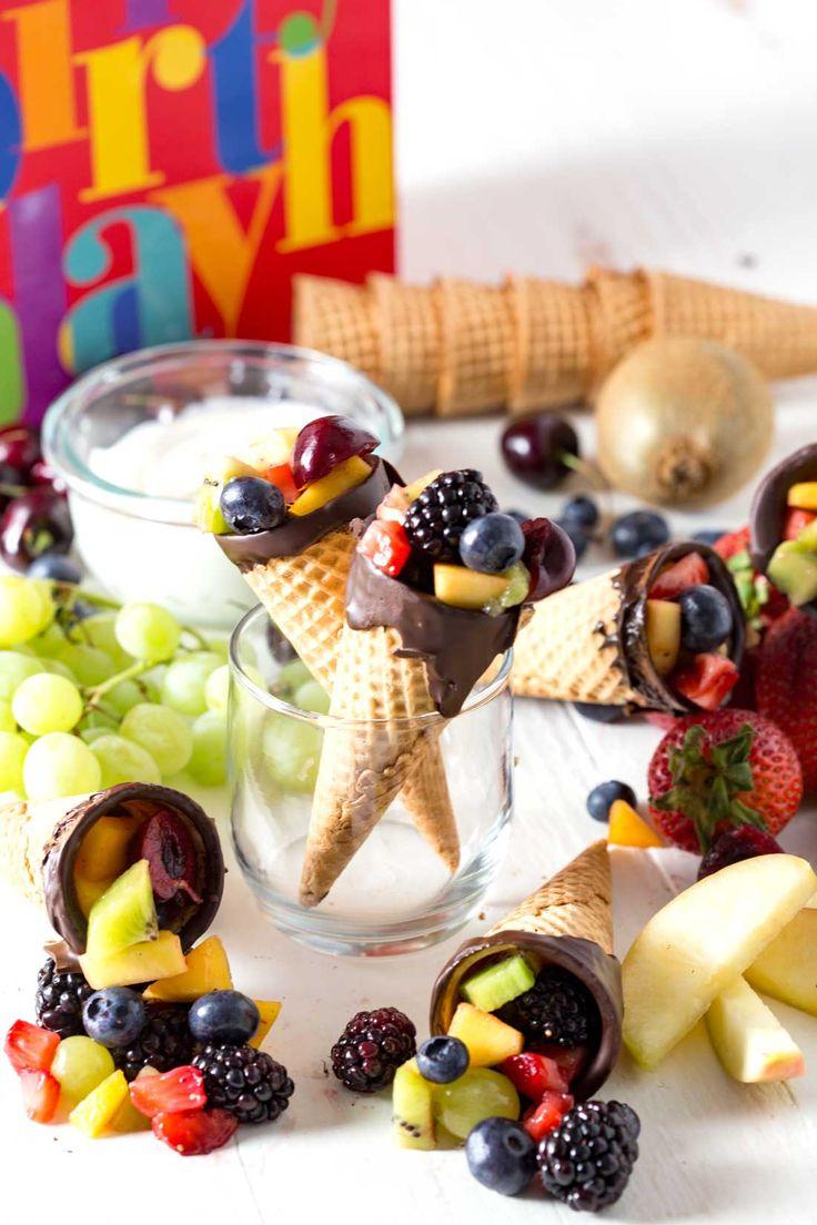 Chocolate Dipped Fruit Cones & Cheesecake Fruit Dip - Eazy Peazy Mealz  via EZPZMealznTravelz