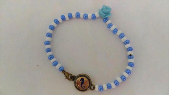 Yemaya Ilde de Santo Idde de Santeria Beaded Bracelet