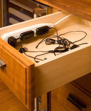 Nobody Stores It Better eclectic-kitchen charging station drawer, see comment for instructions on installation.