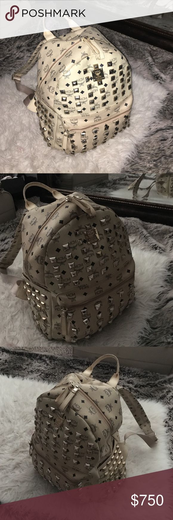 MCM Studded bookbag!!! Great condition!!! MCM Bookbag, leather, no studs missing, authentic, bought around 2 years ago, willing to trade for Louis Vuitton bookbag, Gucci bookbag, or Chanel bookbag!!! (Or other designer bookbag) ✨✨✨ MCM Bags Backpacks