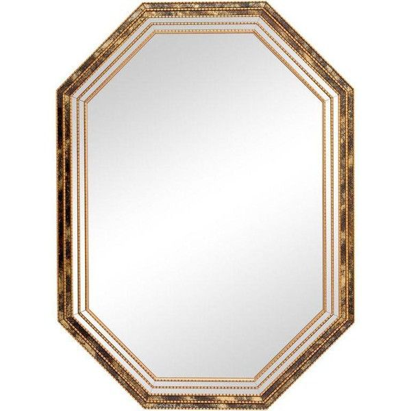 Reverse Painted Frame Mirror (3.130 DKK) ❤ liked on Polyvore featuring home, home decor, mirrors, wall mirrors, vertical mirror, gold mirror, octagon mirror, gold wall mirror and black wall mirror