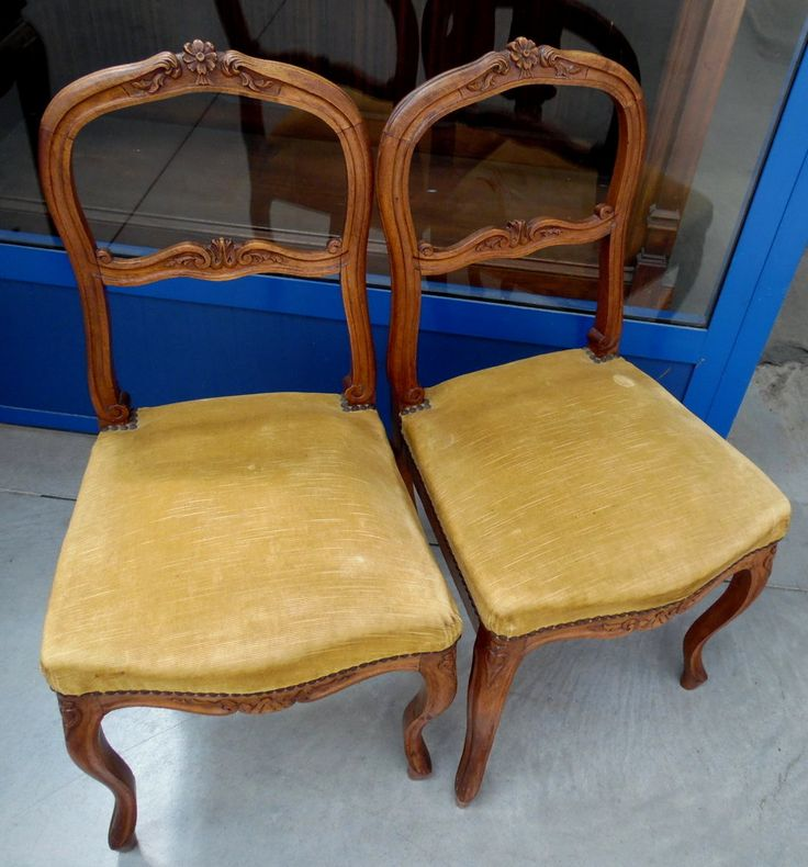 Coppia di sedie '800 Napoleone III stile rocaille in noce