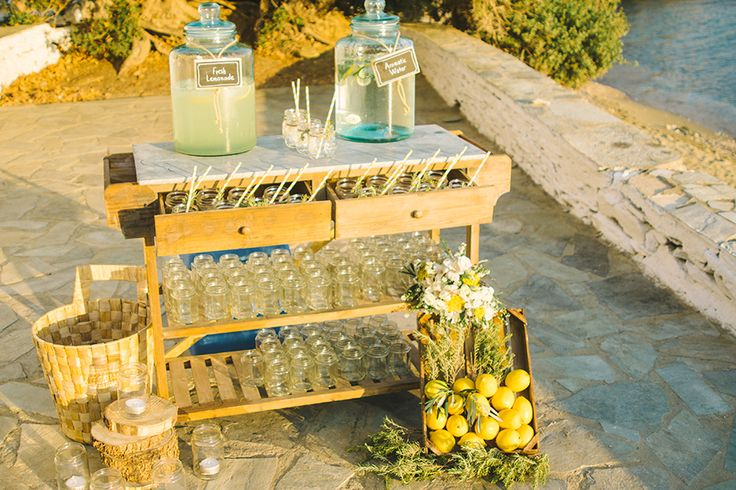 Rustic Beach Wedding | Vintage Lemonade Bar