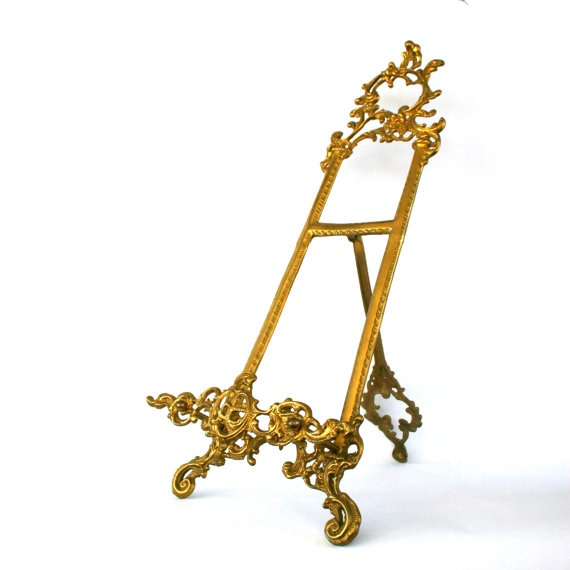 Brass Easel. Plate Stand. Book Holder. Book Stand. Display. Decorative. Gilded Metal. Gold. Golden. Metallic. Aged Patina. Traditional  sc 1 st  Pinterest & 39 best Easels images on Pinterest | Easels Artist studios and Art ...
