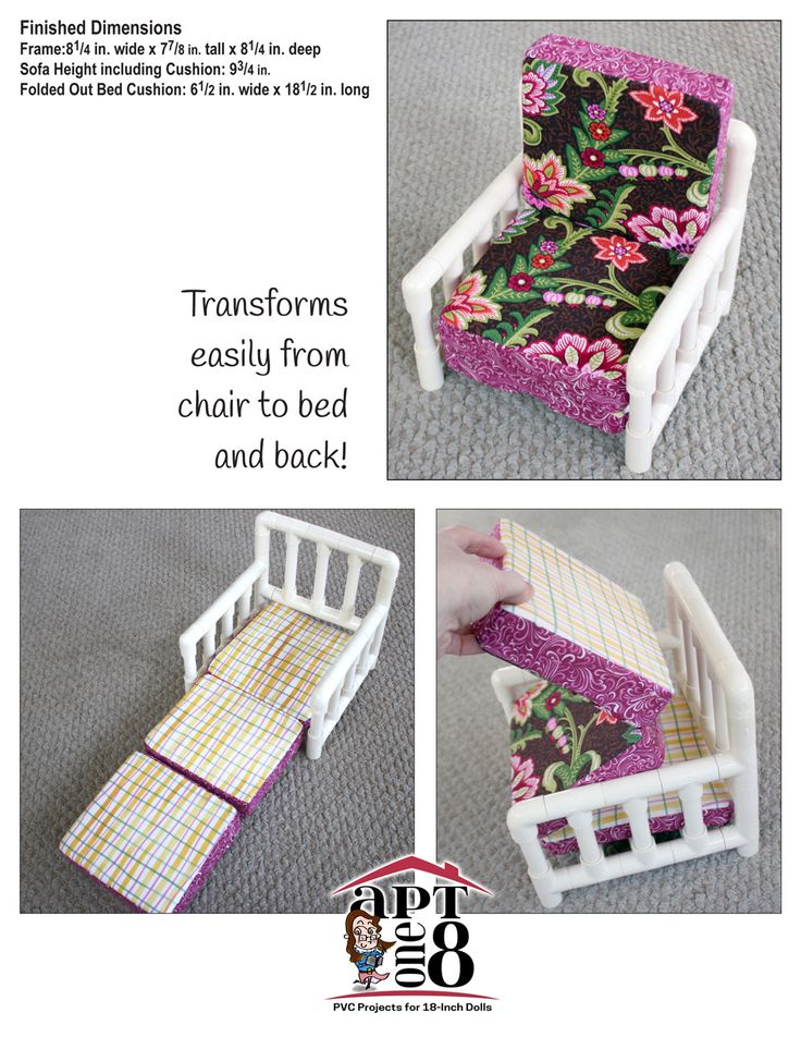 Convertible Bunk Bed: Intermediate-Level PVC Project For 18-inch Dolls (AptOne8 PVC Project Patterns. support Secure podras Izarra Holding wants