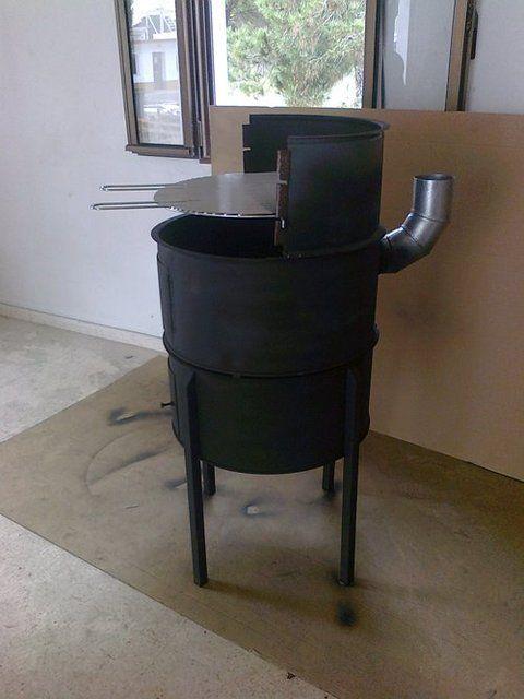 Barbacoa hecha con un bid n tonel quieres ver m s - Como hacer un asador ...