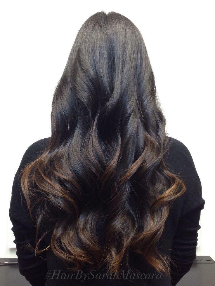 Subtle brown ombre on black hair