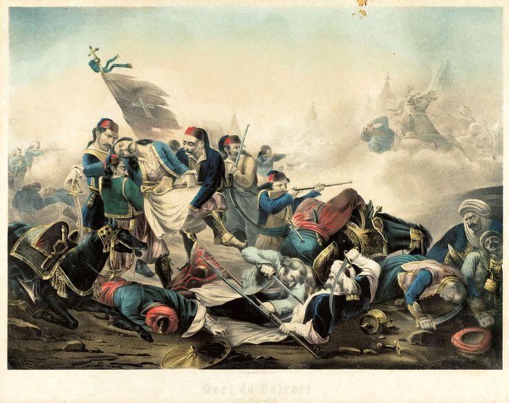 Jean-Charles Langlois (1789-1870)-Mort de Botzari, 20 Aout 1823