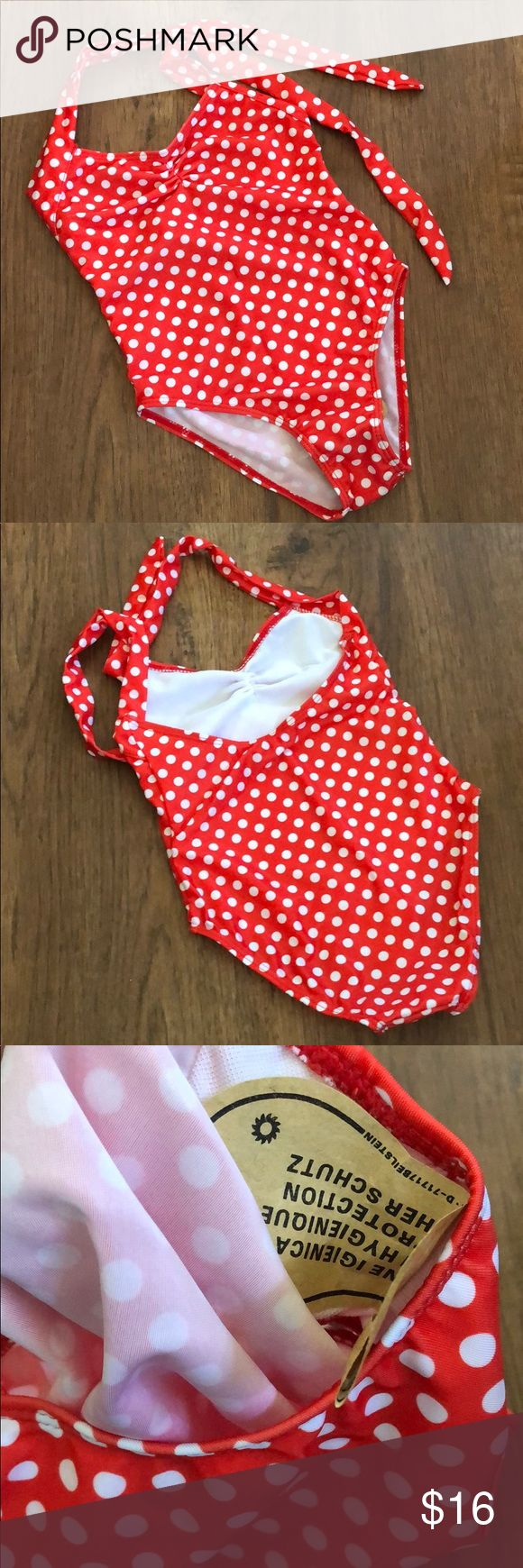 NIP Girls halter swimsuit red polka dot This does not have the proper sizing on …