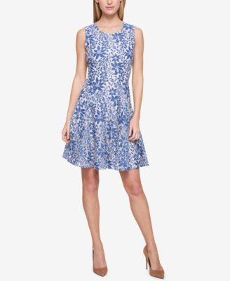 d37f92bb8e4 Denim Lace Sleeveless Fit and Flare Dress | shower | Denim, lace ...